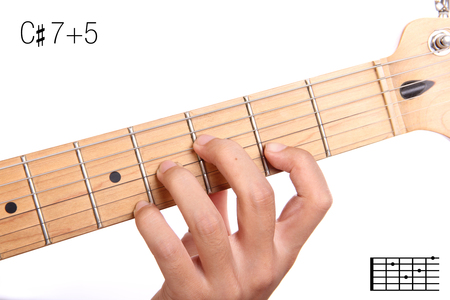 C#7+5 - advanced guitar keys series. Closeup of hand playing C sharp 7+5 chord, isolated on white background Stock Photo