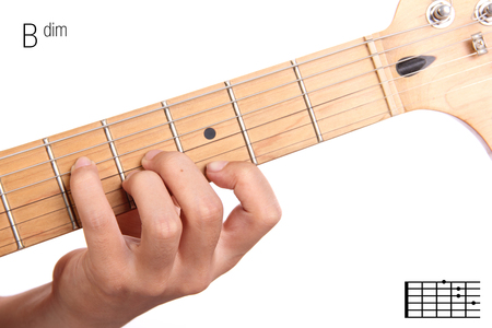 Baug - advanced guitar keys series. Closeup of hand playing B augmented chord, isolated on white background