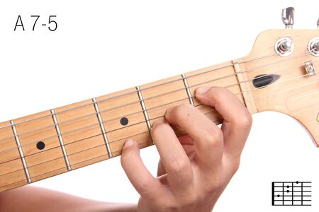 A7-5 - advanced guitar keys series. Closeup of hand playing A 7-5 chord, isolated on white background