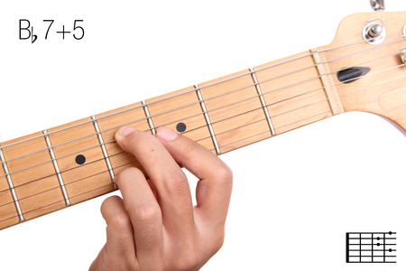 Bb7+5 - advanced guitar keys series. Closeup of hand playing B flat 7+5 chord, isolated on white background