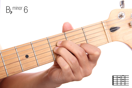 Fc Guitar Keys Tutorial Series Closeup Of Hand Playing F Stock