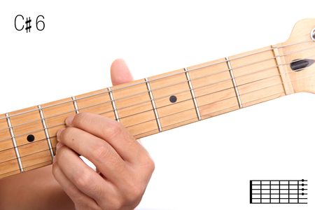 C#6 - advanced guitar keys series. Closeup of hand playing C sharp sixth chord, isolated on white background