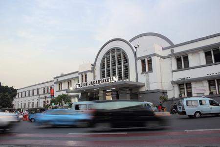 JAKARTA, INDONESIA - May 27th, 2017. Traffic in front of Jakartakota Station, Jakarta, Indonesia