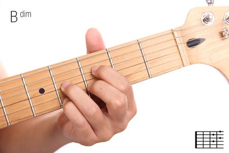 Bdim - Advanced Guitar Keys Series. Closeup Of Hand Playing B ...