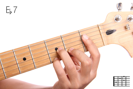 dominant: Eb7 -  Closeup of hand playing E flat dominant seventh chord variation with guitar, isolated on white background