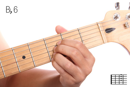 fingerboard: Bb6 - advanced guitar keys series. Closeup of hand playing B flat sixth chord, isolated on white background