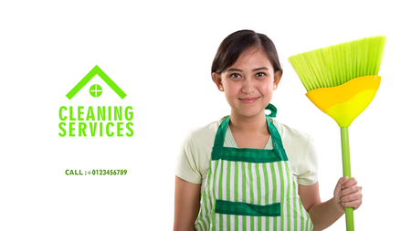 trusted: Cleaning Service advertisement banner template with image of Asian woman in apron holding a broomstick, isolated over white