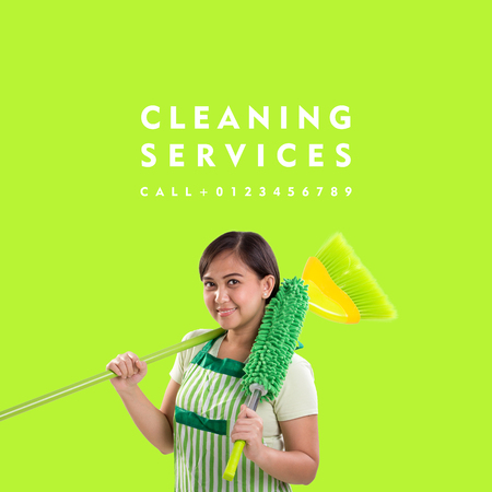 Cleaning Service. Simple easy to edit design over green background, with images of cleaning lady