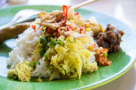 A plate of Nasi Campur, traditional Balinese cuisine