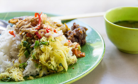 Nasi Campur. Authetic Balinese meal Stock Photo