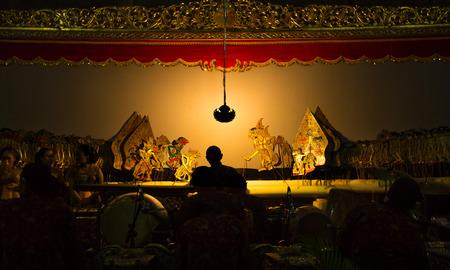 YOGYAKARTA, May 1st 2018: Stage performance of wayang kulit, traditional art of Java, Indonesia Editorial