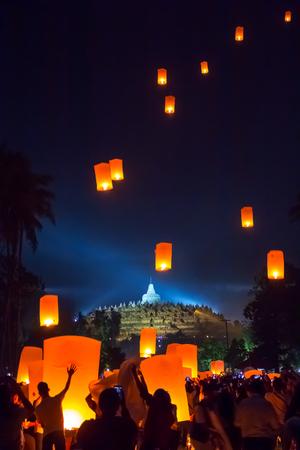 MAGELANG, May 29th 2018: Lantern flying over stupa of Borobudur Temple. Waisak/Vesakha/Vesak - the celebration of Buddha