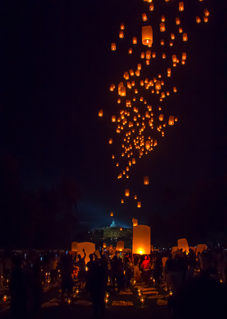 MAGELANG, May 29th 2018: Thousands of lanterns released into night sky by Buddhists in Borobudur Temple Indonesia, as part of Vesak Day celebration. Each symbolizes individual hopes and prayer. Stock Photo