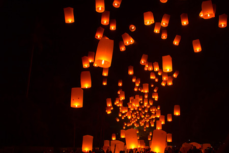 BOROBUDUR, May 29th 2018: Paper lanterns being released to the night sky at Borobudur Temple for Vesak Editorial