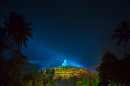 BOROBUDUR, May 29th 2018: Night sky of Borobudur Temple, Magelang, Indonesia. The biggest Buddhist temple in the world Redakční