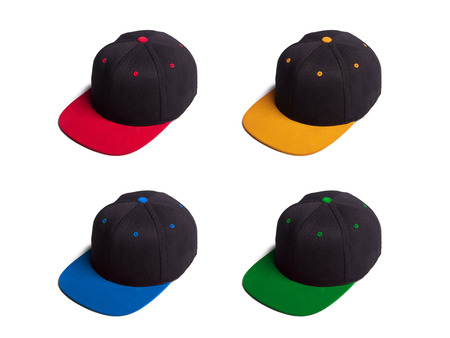 Set of hip hop snap back caps in various colors, isolated over white background