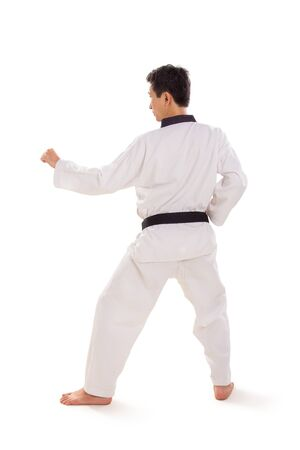 Full length profile of male tae-kwon-do fighter in his stance, rear side view, isolated on white background Banco de Imagens