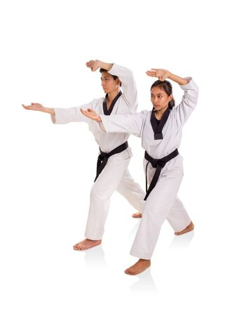 Male and female martial art practitioners using fingertips strike technique, full length portrait on white background Banco de Imagens