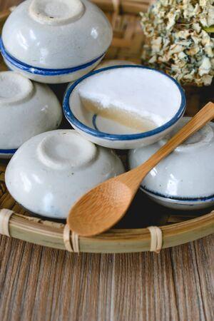 Thai dessert made of coconut milk, Steamed Pandan Coconut Pudding, Coconut milk Pudding dessert