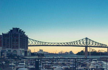 18 month old: Jacques Cartier Bridge of Montreal Quebec Canada with Beautiful Sky Editorial