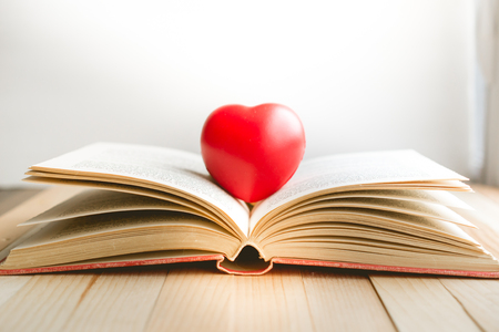 Red Heart On Open Book With Copy Space In Relaxation And Cozy Mood, Image  For