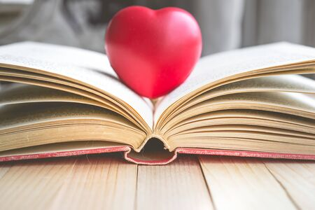 red heart on open book with copy space in relaxation and cozy mood, Image for education, love and brightness  concept Imagens