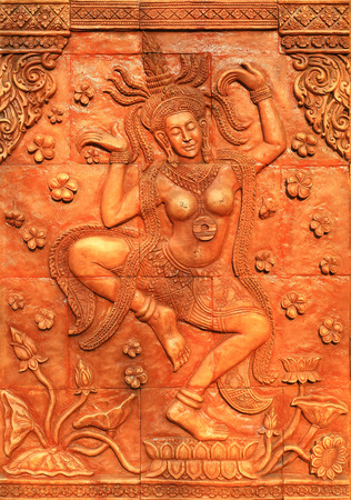 bas: Apsara dancer carved mock Stock Photo