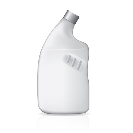 cleanser: White Plastic Jerrycan Oil, Cleanser, Detergent, Abstergent, Liquid Soap, Milk, Juice On White Background Isolated. Ready For Your Design. Product Packing Vector