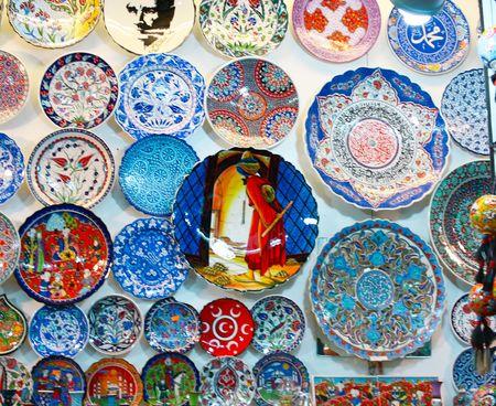 Souvenir ceramics in Grand Bazaar display  Stock Photo