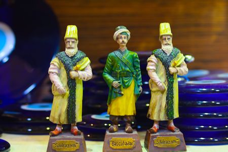 Souvenir porcelain figurines of the sultans of the Ottoman Empire Grand Bazaar, Turkey, Istanbul Stock Photo