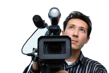 Cameraman with a camera on a white background (isolated)