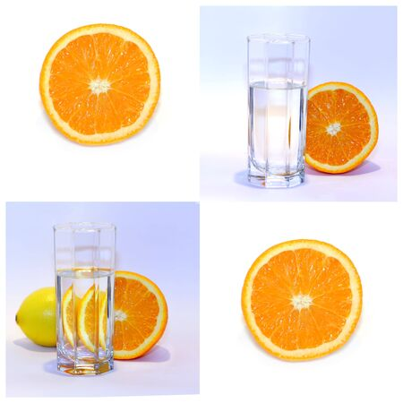 collage of citrus fruit and water in a glass Stock Photo
