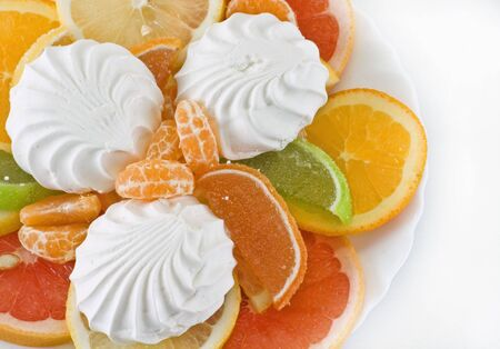 dessert isolated citrus and marmalade on a white background Stock Photo