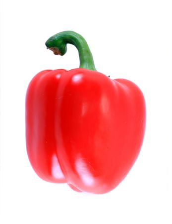 Red isolated paprika on the white background