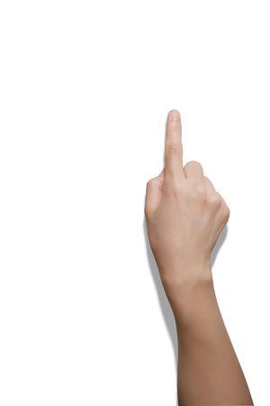 raise hand: Hand Index finger isolated on white background