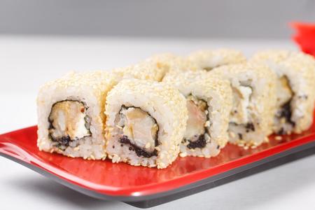 philadelphia roll: hot rolls Nori fish sushi rolls frying rice cheese Philadelphia California salmon