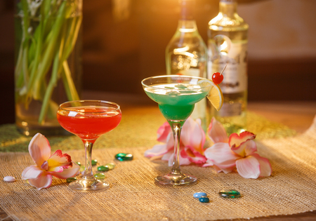 crushing: drinks in tall glasses - martini and dessert