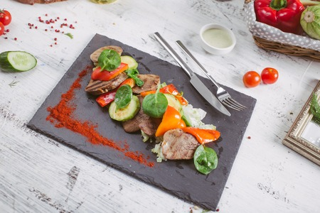 Beef Tongue Salad with Fresh Green Herbs and Cherry Tomato