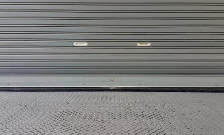 metal shutter door texture outside from warehouse