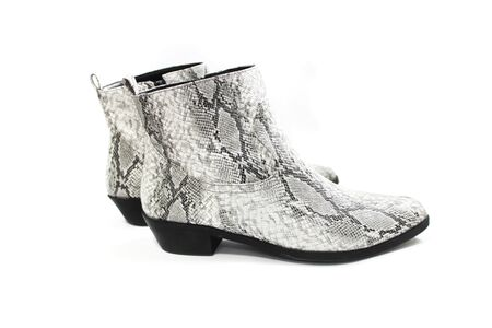 fashionable women boots with a print of a python. on white background