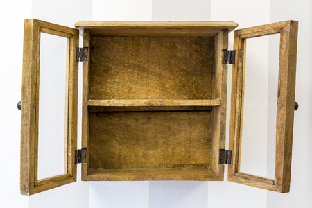 wall mounted: Empty rustic wall mounted display cabinet, horizontal.