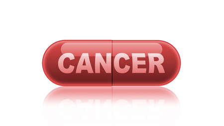 irony: Single red medicine capsule labeled cancer isolated on white. Stock Photo