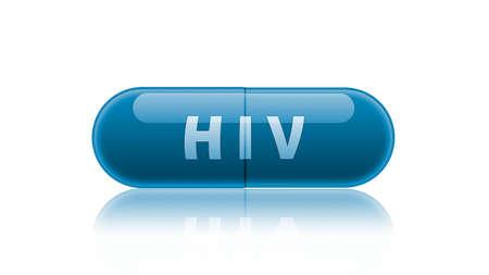 irony: Single blue medicine capsule labeled HIV isolated on white. Stock Photo
