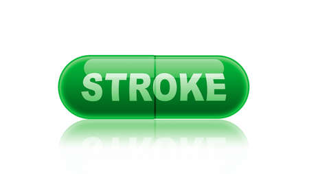 labeled: Single green medicine capsule labeled stroke isolated on white.