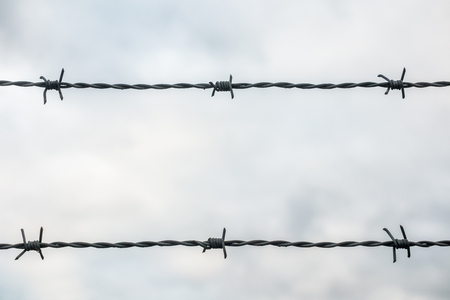 Close-up of barbed wire in two lines against cloudy sky.