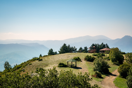 Beautiful mountain landscape view with a picnic rest area in Skopje Macedonia. Stock Photo - 98955453