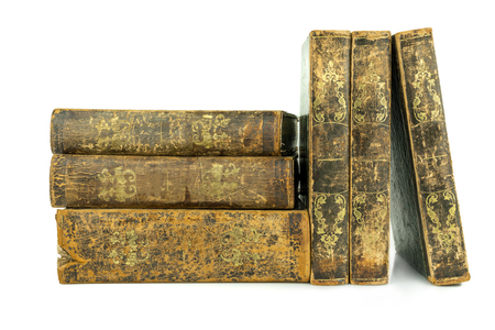 Six aged ancient old leather books stacked and standing, studio shot on white. Stock Photo - 99639661