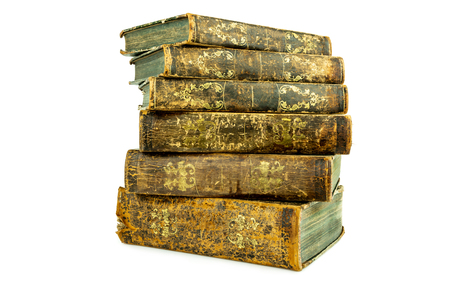 Six aged ancient old leather books stacked, studio shot on white. Stock Photo - 99664759
