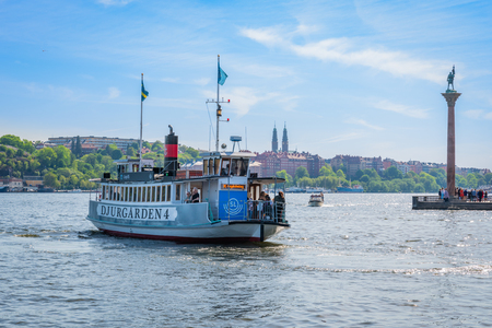STOCKHOLM, SWEDEN - MAY 26, 2018: Front view of Stromma Kanlalbolag´s city steam ship ferry with passengers approaching the quay in Stockholm Sweden May 26, 2018. Editorial