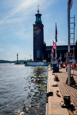 STOCKHOLM, SWEDEN - MAY 26, 2018: Profile view of Stromma Kanlalbolag´s  city steam ship ferry with passengers berthing the quay in Stockholm Sweden May 26, 2018. Editorial